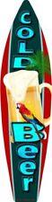 "Cold Beer Metal Surfboard Sign 17"" x 4.5"" ↔ Beach Pool Pub Bar Home Wall Decor"