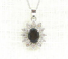 2.67ctw SmokyTopaz & Cubic Zirconia Solid 925 Sterling Silver Pendant & Chain