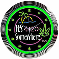 neon clock sign It's 4:20 somewhere tropical Marijuana bar lamp pot light 5:00