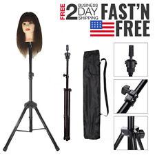 Hairdressing Training Head Holder Tripod Stand Salon Hair Wig Model Holder + Bag