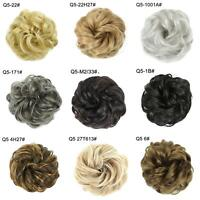 AU_ KQ_ Hair Messy Bun Fake Extensions Styling Cover Scrunchies Elastic Bobbles