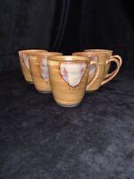 Sango Splash Brown Pattern 4951 Coffee Mugs Glazed Drip Design Set Of 5