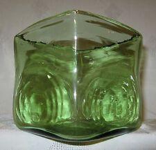 """Vintage Modern Art Glass Hand Blown Square Green Bullseye Vase  4 ¾"""""""