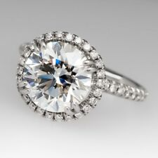 Certified 5.00ct White Round Cut Diamond Vintage Halo Engagement 14K Gold Ring