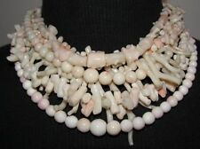 Angelskin Coral Multi Strand Torsade Necklace w/ Sterling Silver Clasp