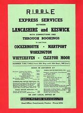 Bus Timetable Leaflet ~ Ribble - Express Services: Lancashire to Keswick - 1967