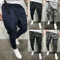 Men Casual Harem Twill Long Pants Hip Hop Jogger Trousers Fit Loose Soft Spring