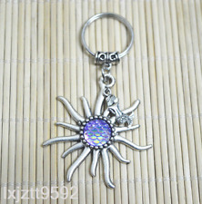 Mermaid Keychain,Fish scales Sun pendant Zipper Bag Charm Party Jewelry PURPLE