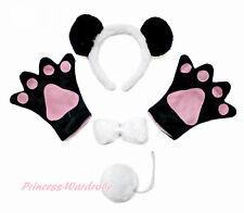 Black White Panda Ear Headband Bow Paw Gloves Unisex Halloween Party Costume Set