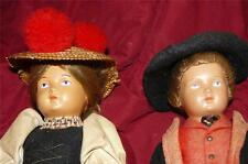 Antique Celluloid Pair Dolls Black Forest Outfits Boy And Girl All Original