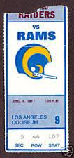 1977 OAKLAND RADIERS vs  LOS ANGELES  RAMS Ticket Stub