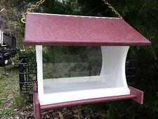 Hanging Bird Feeder & Suet Feeder w/Chain Poly Amish Yard Garden Red & White