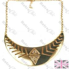 AZTEC PATTERN cutout metal COLLAR NECKLACE arc choker MIRRORED GOLD PLATED chain
