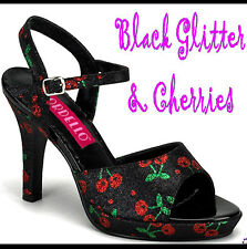 "AMUSE-05G BLACK GLITTER & CHERRIES .75"" Mini Platform 4"" Heel Sandals 8US=7AU"