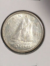 1963 CANADA 10 CENTS DIME SILVER