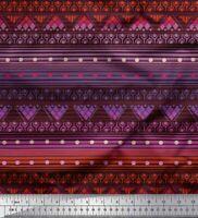 Soimoi Braun Baumwoll-Voile Stoff dot, stripe & geometrisch ethnisch-X9U