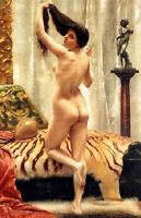 Oil painting nice young lady Before a Mirror After bathing in living room canvas