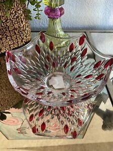 Clear Glass Candy Dish with red spots from pier 1