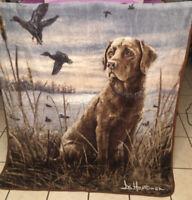 "EUC-60"" x 40"" Fleece Blanket Throw Animal Labrador Retriever Artist Signed"