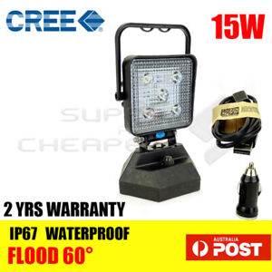 Portable Magnetic Base 15W Cree Led Work Light Flood Lamp 12V Rechargeable