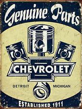 Genuine Parts CHEVROLET, alluminio Retrò Vintage Sign Auto Garage Man Grotta