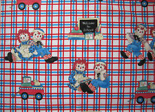 """OOP!! RAGGEDY ANN/ANDY BACK TO SCHOOL APPLIQUE  COTTON FABRIC BTHY - 18""""X44"""""""