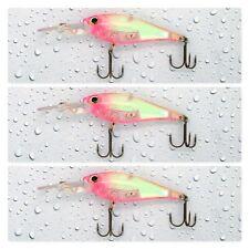 """(3) Storm 2"""" Smash Shad 3/16 Oz Rattle Floating Crankbait Ghost Pink Lemonade UV"""