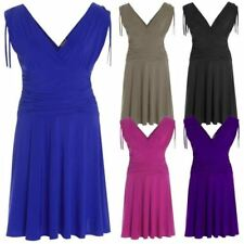 Polyester V-Neck Draped Dresses for Women