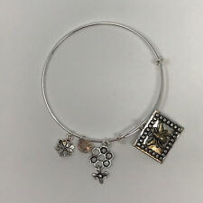 Bumble Bee Silver Toned Adjustable Bangle Bracelet With Bee Themed Charms