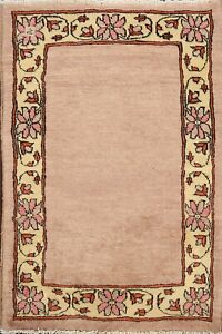 Bordered Modern Gabbeh Kashkoli Oriental Area Rug Wool Hand-knotted 2'x3' Carpet