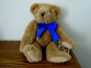 """VINTAGE 1993 VERMONT TEDDY BEAR CO. JOINTED TAN TEDDY BEAR WITH BLUE TIE, 17"""""""