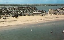 TREASURE ISLAND FLORIDA~BOCA CLEGA BAY~MUNICIPAL BEACH~SAILBOATS POSTCARD
