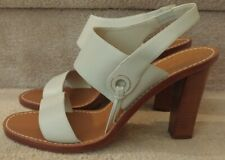 Loro Piana Light Gray Leather Strappy High Heel Slingback Sandals Size 41