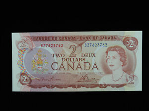 1974 $2 Bank of Canada Banknote BZ 7623762 Bookend Note Lawson Bouey AU-UNC Gr