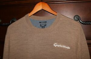 Men's TaylorMade Ashworth Golf Brown 100% Merino Wool Crewneck Sweater Size XL