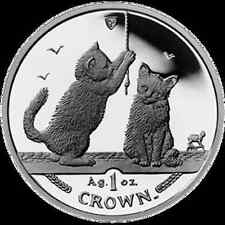 2001 Isle of Man Somali Cat Coin 1 oz Silver Proof with Box & Coa
