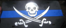 SKULL PIRATE IMAGE AND POLICE STRIPE MIRRORED CHROME LASER CUT LICENSE PLATE