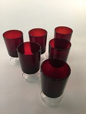 French Luminarc Ruby Red Sherry/ Liquor Glasses x6 In Excellent Condition