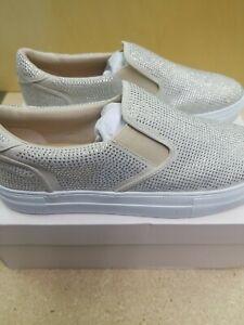 JustFab Women's Slip-on Rhinestone Sneakers in White Shiny Shoes NIB Size 11