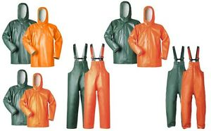 Offshore Vinyl Regenjacke Latzhose Fischerbluse Ölzeug Regenhose grün orange