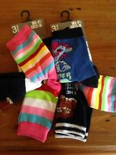 ** 6 X GIRLS BRIGHT STRIPES & MONSTER SOCKS SIZE 6-8.5  EU 23-26 NEW **