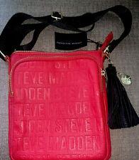Steve Madden Purse Red NWT BGLAMM CROSSBODY Zipper Pocket Black Gold