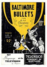 1948 Baltimore Bullets vs. Washington Capitols Program UNSCORED **Very Rare**