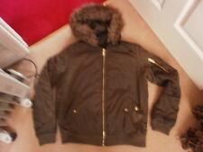 Girls NEW LOOK 915 khaki padded bomber jacket coat with furry hood age 14-15