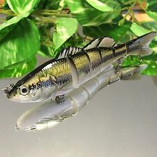 """KDS Custom Slow Sinking Jointed 6"""" Multi Section Swimbait - Real Largemouth Bass"""