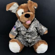 "15"" Build a Bear Dog in Military Digital Camo Uniform U.S Brown Stuffed Animal"