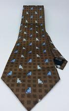 Revato Balestra Brown Square Pattern Felines All Silk Cat Lover Tie
