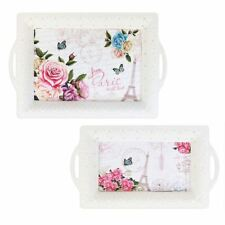 Pack of 2 White Paris Chic Design Serving Trays Carrying Drinks Food Tea Party