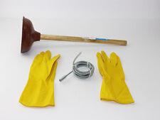 Abfluss Reinigung Rohrfrei Set Rohrreiniger Saugglocke Pümpel Spirale Handschuhe