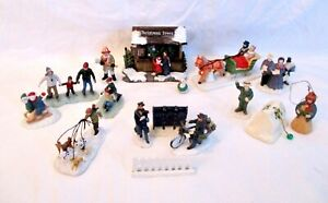 LOT 16 PC CHRISTMAS VILLAGE FIGURINES Skaters~Mailboxes~People~Carolers~Sledders